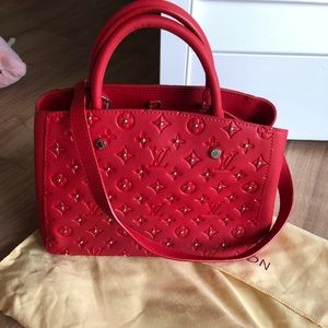 Red Louis Vuitton handbag